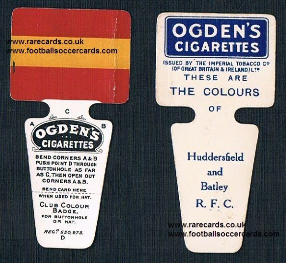 1909 Ogden Club Colour Badge cigarette card Huddersfield and Batley RFU
